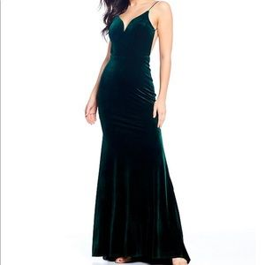 B. Darlin Green Velvet Long Gown with Straps
